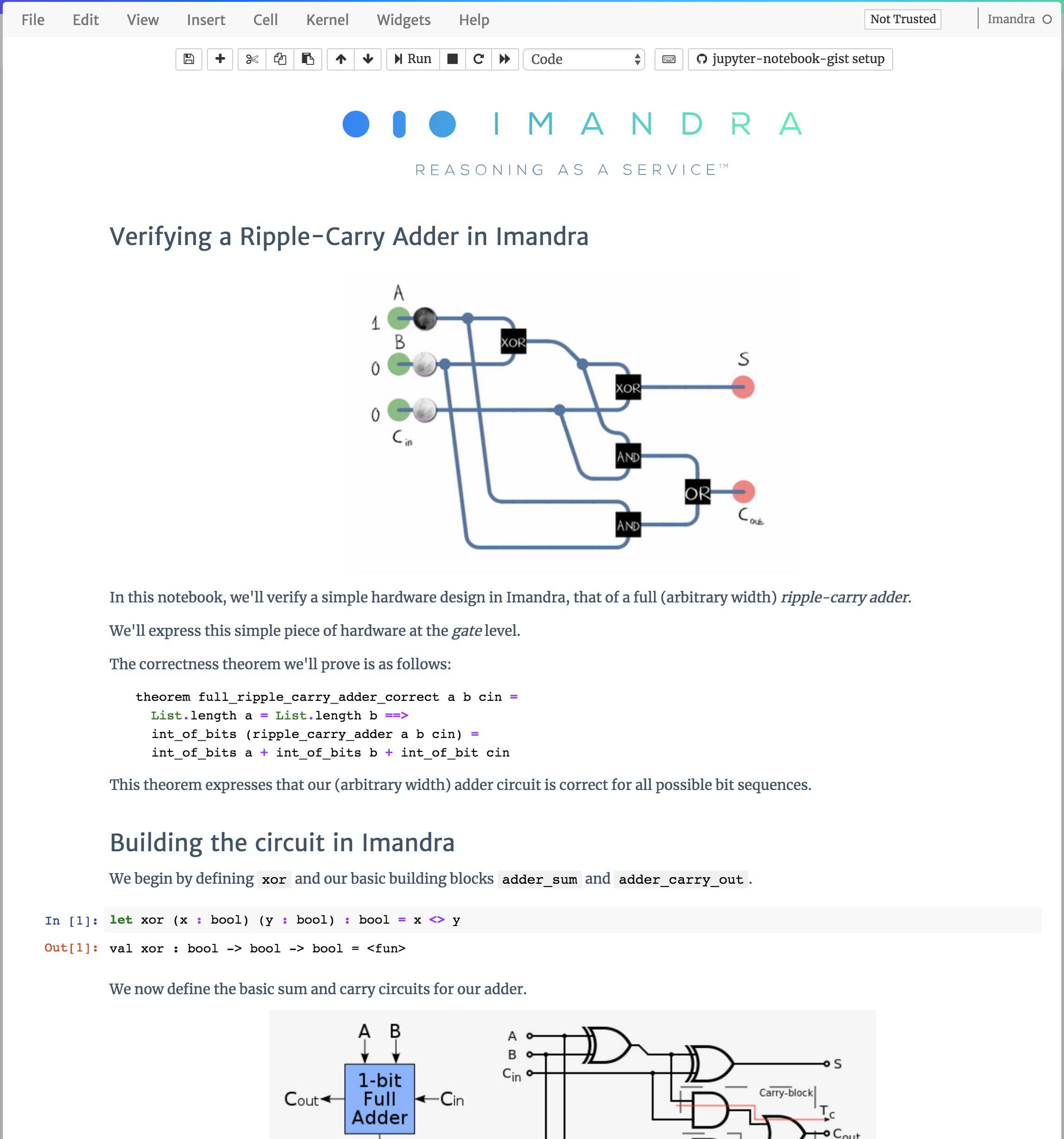 Imandra Notebook Verifying A Ripple Carry Adder Full Circuit